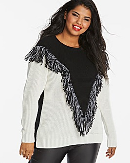 Fringed Chevron Jumper