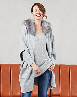Faux Fur Trim Poncho Cardigan