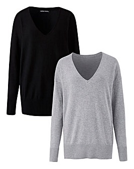 Pack of 2 V-Neck Jumpers