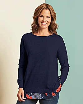 Knitted 2 in 1 Woven Hem Tunic