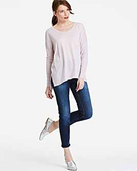 Slouchy V-neck Textured Jumper