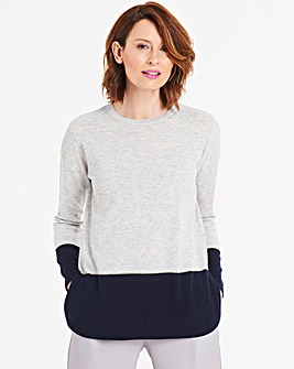 Grey/Indigo Super Soft Premium Lightweight Colourblock Jumper