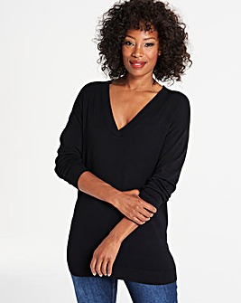 Black Slouchy V Neck Tunic