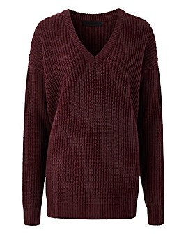 V Neck Dropped Shoulder Jumper