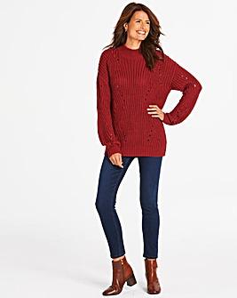 Burgundy Stitch Detail Jumper