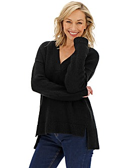 Black Cosy Slouchy V-Neck Jumper
