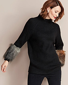 Faux Fur Trim Ribbed Tunic