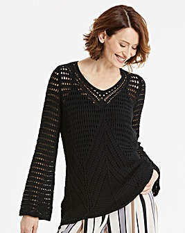 Open Knit V Neck Tunic
