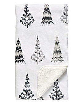 Nordic Tree Print Sherpa Throw