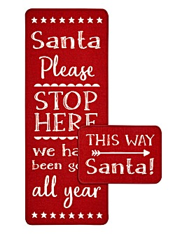 Santa Stop Here Runner with FREE Mat