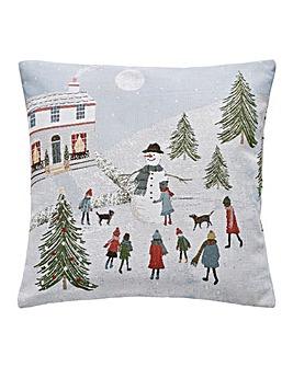 Snowman Scene Cushion