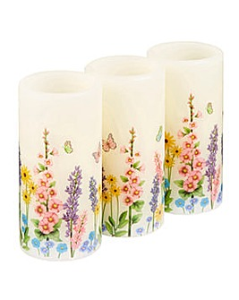 Floral Butterfly Real Wax LED Candles