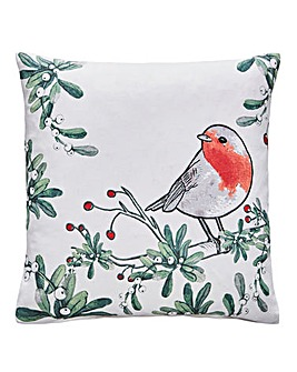 Festive Robin Cushion