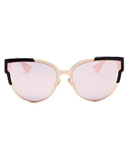 Layla Cat's Eye Cats Style Black and Gold Sunglasses, With Smoke Lenses