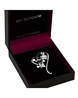 Jon Richard Heart And Flower Brooch
