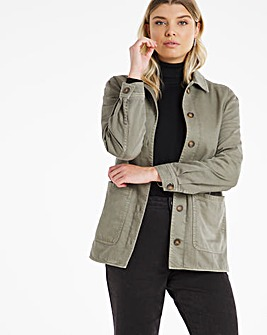 Washed Khaki Denim Shacket