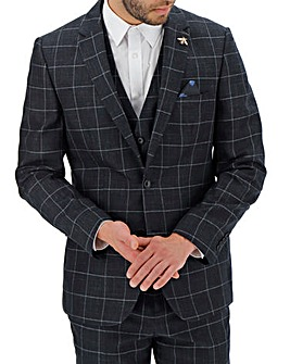 Navy Theo Windowpane Suit Jacket