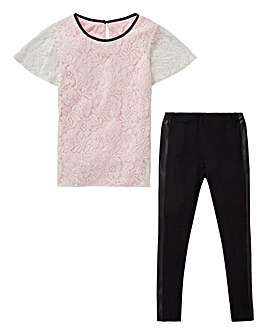 KD Girls Lace Top and PU Legging Set