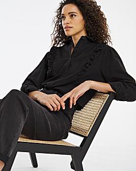 Washed Black Ruffle Trim Denim Shirt