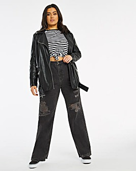 Washed Black Extreme Ripped Relaxed Dad Jeans