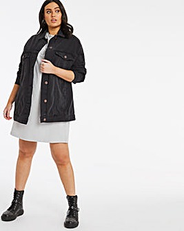 Washed Black Oversized Ex-Boyfriend Denim Jacket