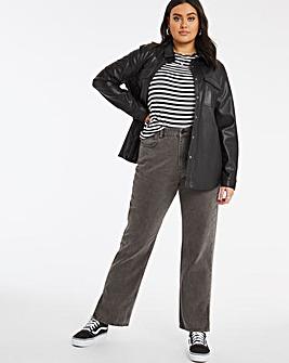 Washed Black Non Stretch High Rise 90's Split Hem Straight Leg Jeans