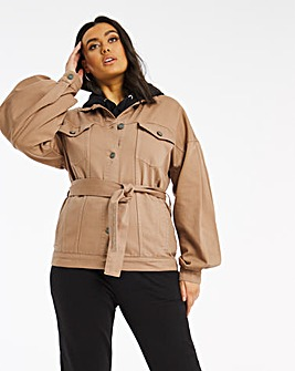 Camel Volume Sleeve Belted Shacket