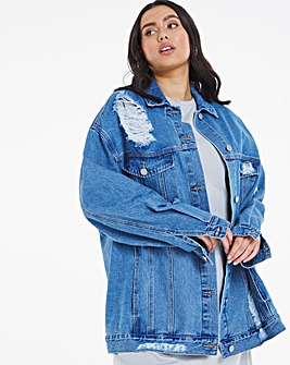 Stonewash Ripped Oversized Ex-Boyfriend Denim Jacket