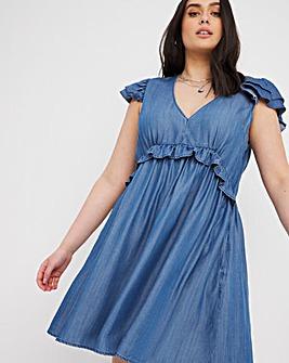 Mid Blue Soft Lyocell Denim Frill Cap Sleeve Smock Dress