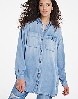 Vintage Bleachwash Oversized Soft Tencel Denim Shirt