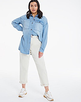 Vintage Bleachwash Oversized Soft Tencel Denim Shirt