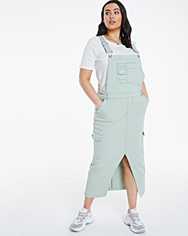 Sage Utility Midaxi Dungaree Dress