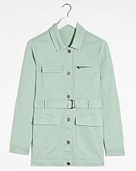 Sage Belted Utility Denim Jacket
