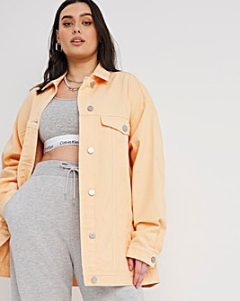 Soft Peach Oversized Ex-Boyfriend Denim Jacket