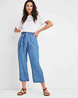 Light Blue Belted Tencel Culottes