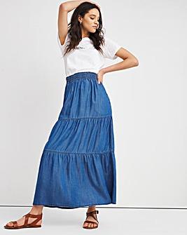 Mid Blue Soft Lyocell Denim Tiered Maxi Skirt
