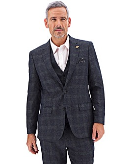 Denim Check Derek Windowpane Suit Jacket