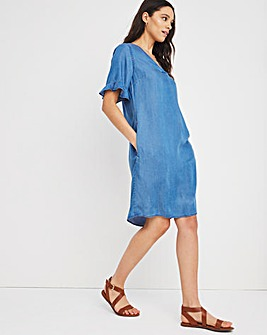 Mid Blue Soft Lyocell Denim Ruffle Sleeve Shift Dress