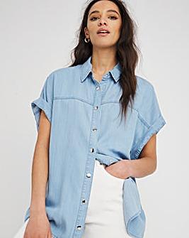 Light Blue Soft Lyocell Denim Drop Shoulder Short Sleeve Shirt