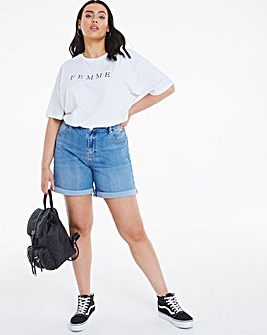 Light Stonewash Mom Shorts