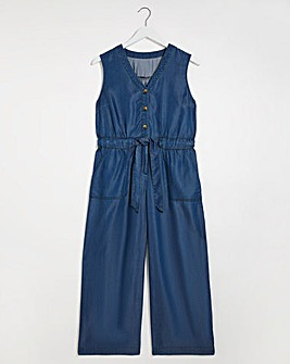 Dark Blue Soft Tencel Denim Belted Culotte Jumpsuit