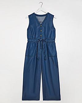 Dark Blue Tencel Belted Culotte Jumpsuit