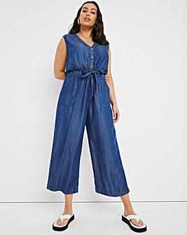Dark Blue Soft Lyocell Denim Belted Culotte Jumpsuit