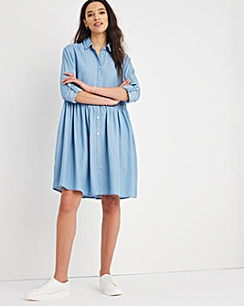 Light Blue Soft Tencel Denim Smock Shirt Dress