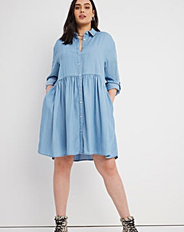Light Blue Tencel Smock Shirt Dress