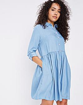 Light Blue Soft Lyocell Denim Smock Shirt Dress