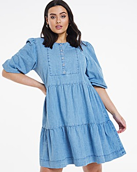 Vintage Bleach Denim Smock Dress