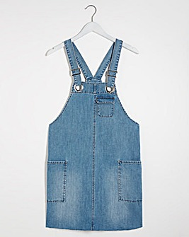 Mid Blue Slouchy Denim Pinafore Dress