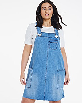 Mid Blue Slouchy Denim Pinafore Dress