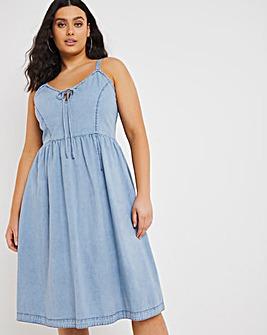 Vintage Bleach Strappy Denim Fit & Flare Midi Dress